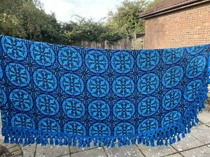 1960's Retro Blue & Black Aztec Quiltair Rayon Double Bedspread With Tassels