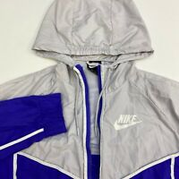 Nike Windbreaker Jacket Mens M Purple Gray Full Zip Drawstring Hooded Mesh Lined