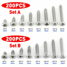200 x M3 Stainless Steel Pan Flat Head Self-Tapping Wood Screws Assortment Kits