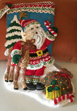 Bucilla Handmade Christmas Felt Stocking Complete Nordic Santa Lovingly Crafted