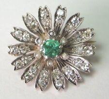 Antique Deco Vintage Colombian Emerald Diamond 18K Multi Tone Gold Pin Brooch