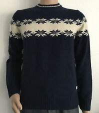 GANT W . LAMBSWOOL CHEST SNOWFLAKE CREW NEU PULLOVER COL EVENING BLUE GR S *5