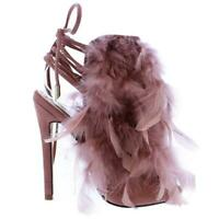 Liliana ARABELLA-1 Mauve Dusty Pink Feather Peep Tow Ankle Tie Up Stiletto Heel