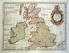 BRITISH ISLES, Roman Britain, Edward Wells, original antique map c1720