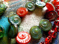 Nouveau Grand Fossil-PERLES EN RED/GREEN/TOPAZ-Mix M. Picasso Finish - 17mm- 8stk. -