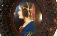 Antique French Miniature Painting on Porcelain in Carved Wood Frame wStand Woman