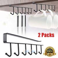2x 6-Hook Cup Holder Hang Kitchen Cabinet Under Shelf Storage Rack Organizer Top