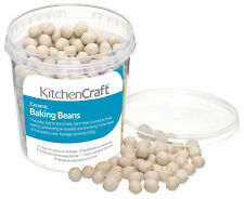 Kitchen Craft Loose Ceramic Pastry Blind Baking Beans Beads - 500g & Storage Tub