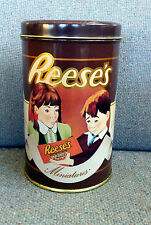 "VINTAGE 1989 REESE'S MINIATURES TIN CAN EMPTY HERSHEY'S CHOCOLATES 6.75"" NICE!"