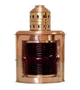 "Ship's Running Light Oil Lamp Red Port 16"" Copper Nautical Maritime Decor New"