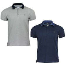New Men's Short Sleeve Diesel Polo T-Basileus-De Top with Dark Blue Denim Collar