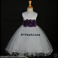 WEDDING BRIDESMAID FORMAL FLOWER GIRL DRESS TULLE 3 FLOWERS 12-18M 2 4 6 8 10 12