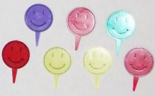 """Multi-Color 1 1/2"""" Resin Cake Decoration Smilly Face Toppers - Set of 7"""