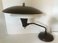 Vtg Mid Century Mod Brown Metal Desk Lamp Atomic Flying Saucer Industrial Office
