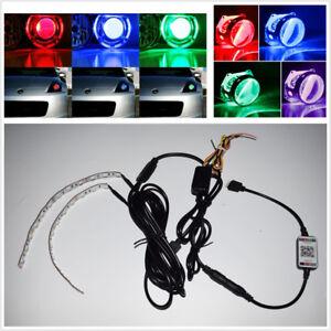 Demon Eyes Headlight Halo Ring Bluetooth Control RGB For Retrofit Projector Lens