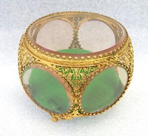 Vintage French ormolu gilt bronze brass glass trinket jewelry casket display box