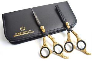 "6"" Professional Hairdressing Scissors Barber Haircutting Shears Set Gold/Black"