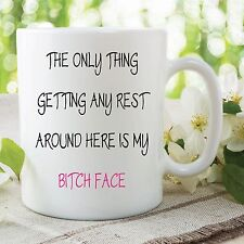 Funny Adult Novelty Mug Rest My Bitch Face Quote Joke Work Cup Gift WSDMUG413