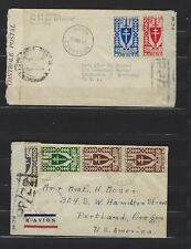 1945 Cameroun 2 different late-WWII censored covers Kribi to Oregon & Kentucky