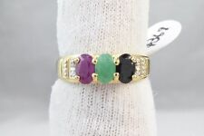 Women's 2.0 ct Natural Mined Diamond Ruby Emerald Sapphire Ring Solid 10k Gold