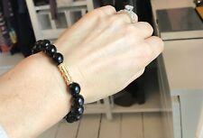 Black Onyx & Vermeil Stretch Bracelet