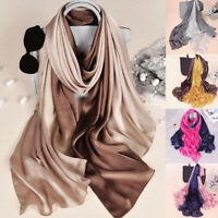 Women Luxury Long Head Wraps Hijab Scarf Gradient Sunscreen Silk Shawl