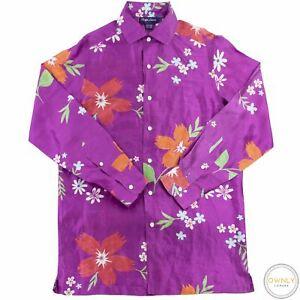 LNWOT Ralph Lauren Purple Label 100% Silk Shantung Floral Italy Dress Shirt M