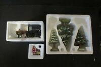 Dept 56 Set of 3 Village Accessories -Snowy Scotch Pines- Amish buggy - Santa