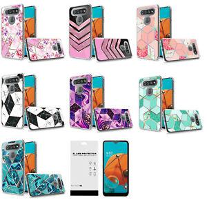 For LG Reflect L555DL / K51 Q51 Trendy Design Case Phone Cover + Tempered Glass