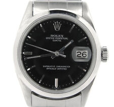 Mens Rolex Date Stainless Steel Watch Vintage Oyster Rivet Band Black Dial 1500