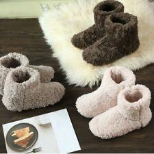 Women Men Slippers Ankle Boot Furry Fleece Lined Flat Shoes Winter Warm Casual F