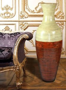 """New Uniquewise 43"""" Tall Bamboo Floor Vase, Red and Natural, QI003244"""