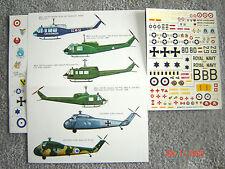 """UH-1D/B/H HUEY/S-58 """"6 USARMY/ISRAELI/GERMANY/ITALIAN CARABIN"""" ESCI DECALS  1/72"""