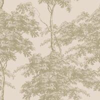EDEN FOREST TREES WALLPAPER PINK / GOLD RASCH 214314 - FEATURE WALL NEW