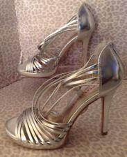 Women's Chinese Laundry 9 Silver Strappy Heels