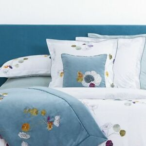 Yves Delorme Pavot Poppy Floral Sham Pillowcase 12x17 Cotton Percale White Multi