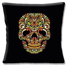 "Vintage Retro Mexican Sugar Skull Day of the Dead Black 16"" Pillow Cushion Cover"