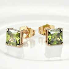 Lovely new 18ct yellow gold filled peridot green sapphire crystal stud earrings
