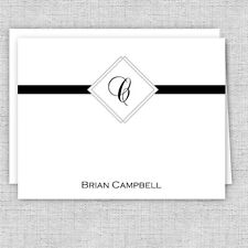 Classy Men's Personalized Note Cards, Initials Masculine Stationery, Monogram