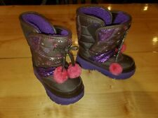 Toddler Girls Fleece-Lined Snowboots ~Sparkly Purple Size 8T~