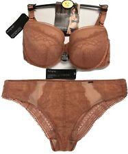 Push Up Bra 38D & Brazilian Knickers UK 16 M&S Autograph Nude / Terracotta BNWT