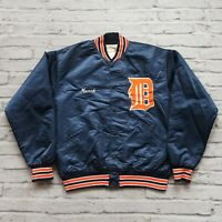 Vintage 90s Detroit Tigers Satin Jacket by Felco Size L Made in USA