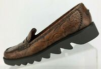 Donald J Pliner Loafers Tooled Brown Leather Moc Toe Penny Shoes Womens US 8 M