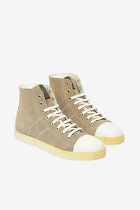 CORNELIANI men Sneakers Sz 9 Uk ID Beige Suede Leather High Top Shoes Beige