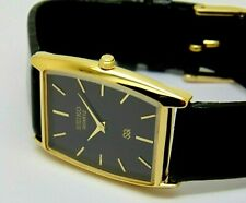 Seiko Quartz Super Slim Men's Gold Plated Black Dial Excellent Watch Run Order