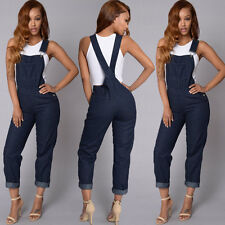 Women Slim Denim Jeans Pants Ripped Overalls Straps Jumpsuit Rompers Trousers