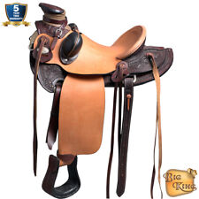 "16"" Western Horse Saddle Leather Wade Ranch Roping Dark Brown by HILASON D015"