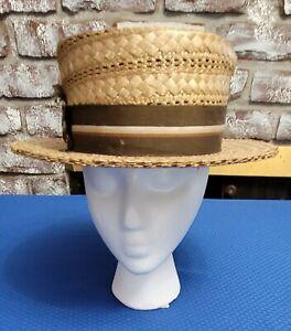 Vintage Mens Boater Style Straw? Hat Shelton Hat Company