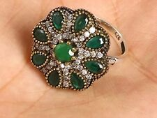 TURKISH OTTOMAN HANDMADE EMERALD TOPAZ STERLING SILVER RING SIZE 8.5 R-1173+GIFT