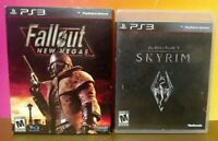 Skyrim + Fallout 3 New Vegas - Sony PlayStation 3 PS3 Games Lot COMPLETE Tested